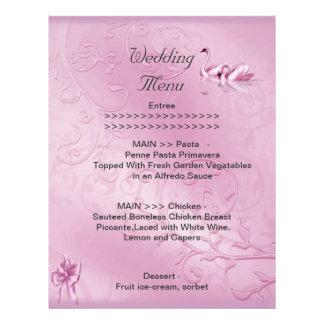 Wedding Menu Program Pink Swans Bow Set Letterhead