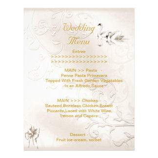 Wedding Menu Program Swans Cream White Bow Set