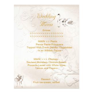 Wedding Menu Program Swans Cream White Bow Set Letterhead