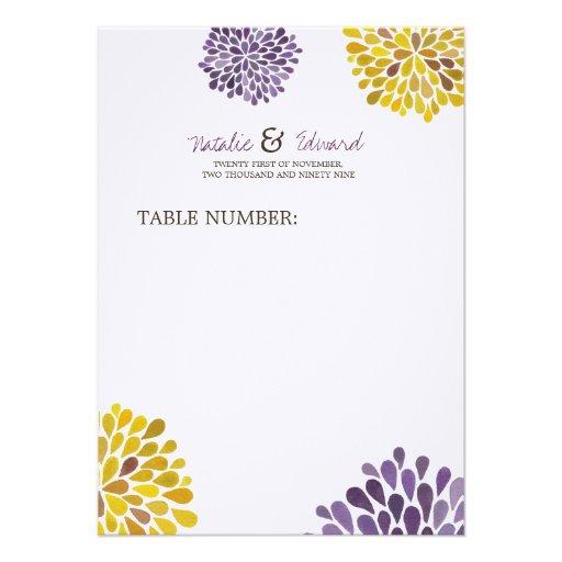 Wedding Menu Purple Amp Yellow Dahlia Flowers 45x625 Paper Invitation Card