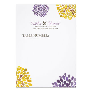Wedding Menu Purple & Yellow Dahlia Flowers Personalized Announcements