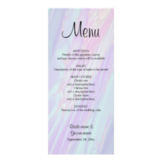 Wedding Menu, Seashell Style Pattern. Rack Card