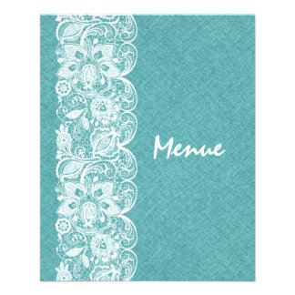 Wedding Menu Teal-Green Linen White Vintage Lace