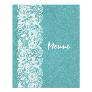 "Wedding Menu Teal-Green Linen White Vintage Lace 4.5"" X 5.6"" Flyer"