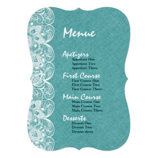 Wedding Menu Teal-Green Linen White Vintage Lace Personalized Announcement