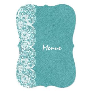 Wedding Menu Teal-Green Linen White Vintage Lace 5x7 Paper Invitation Card