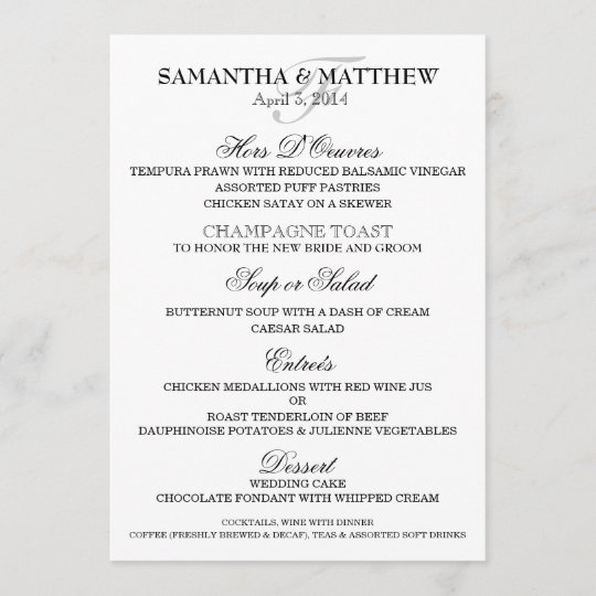 Wedding Menu Template.Wedding Menu Template Personalize