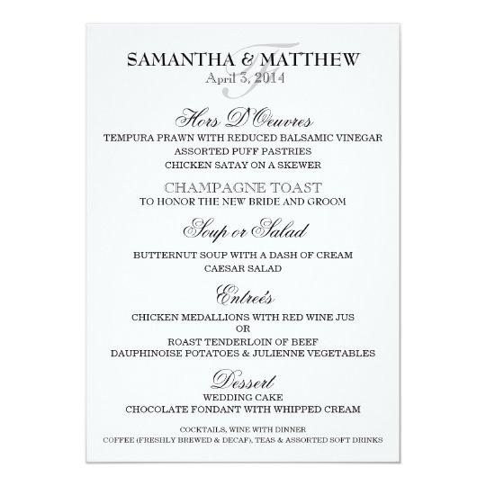 Wedding Menu Template Personalize