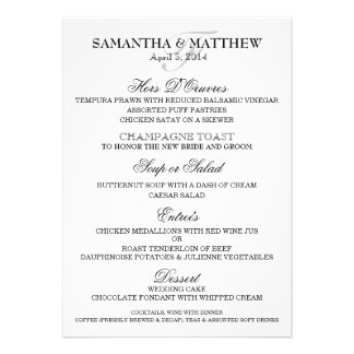 Wedding menu template PERSONALIZE Announcements
