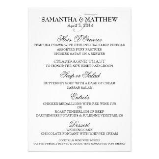 Wedding menu template PERSONALIZE Announcements