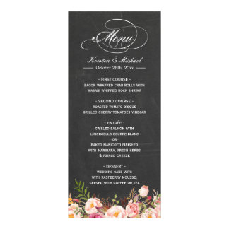 Wedding Menu Template Vintage Floral Chalkboard