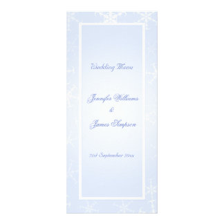 Wedding Menu Template Winter Snowflakes Blue White Personalized Rack Card