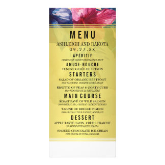 Wedding Menu | Tropical Watercolor Flowers