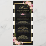 """Wedding Menu Vintage Floral Black White Striped<br><div class=""""desc"""">Vintage Floral Black White Striped Wedding Dinner Menu Template.  (1) For further customization,  please click the """"customize further"""" link and use our design tool to modify this template.  (2) If you need help or matching items,  please contact me.</div>"""