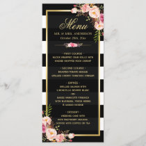 Wedding Menu Vintage Floral Black White Striped