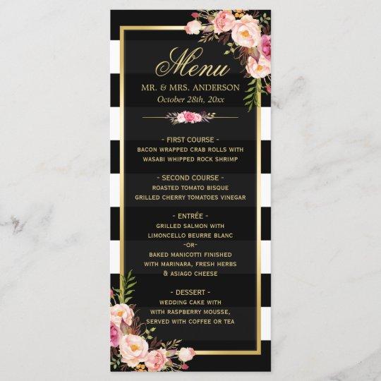 Wedding Food Menu Samples: Wedding Menu Vintage Floral Black White Striped
