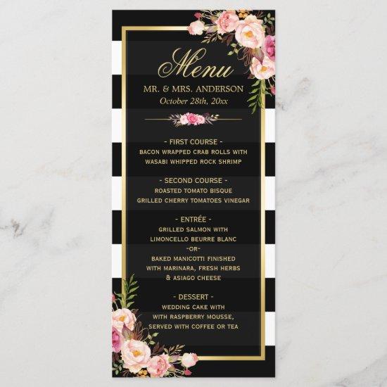 Wedding Menu Vintage Floral Black White Striped