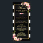 """Wedding Menu Vintage Floral Black White Striped<br><div class=""""desc"""">================= ABOUT THIS DESIGN ================= Vintage Floral Black White Striped Wedding Dinner Menu Template. (1) You are able to Change the Black Stripes to ANY COLOR you like by clicking the &quot;Customize it&quot; button and setting the Background Color. The text color and size are adjustable too. (2) If you need...</div>"""