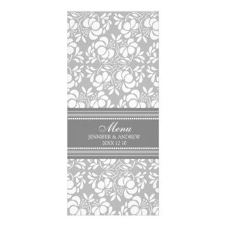 Wedding Menu White Gray Damask Full Color Rack Card