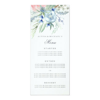 Wedding Menu with Blue and Pink Peonies Card