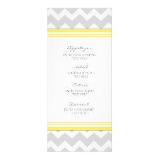 Wedding Menu Yellow Gray Chevron Rack Card Design