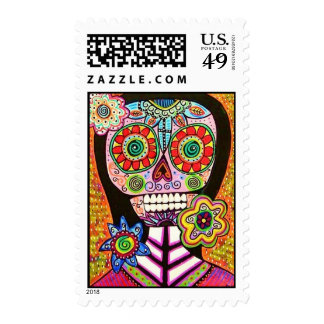 Wedding - Mexican Woman Pink Sugar Skull Stamp