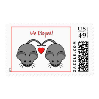Wedding Mice Black Eloped Postage Stamps