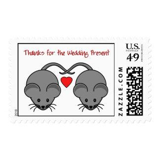 Wedding Mice Black Thanks Wedding Postage Stamp
