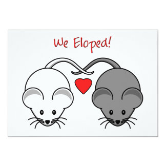 Wedding Gifts For Eloped Couple : Wedding Mice Black White Eloped Card