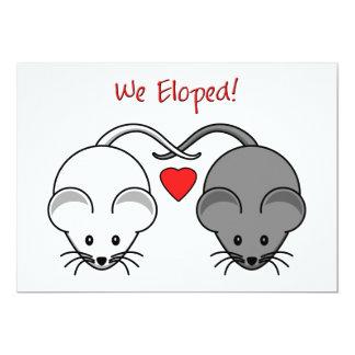 Wedding Mice Black White Eloped Card