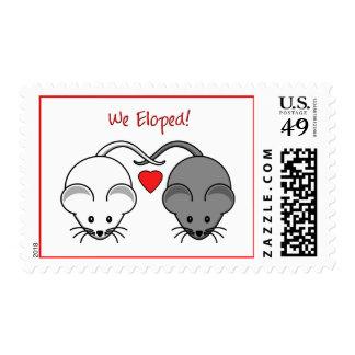Wedding Mice Black White Eloped Stamp