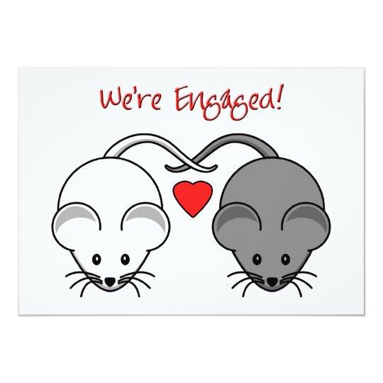 Wedding Mice Black White Engaged Card