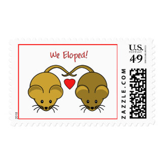 Wedding Mice Brown Eloped Postage Stamps