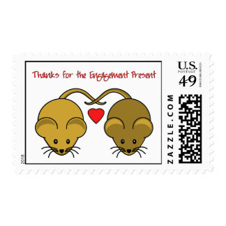 Wedding Mice Brown Thanks Engagement Postage