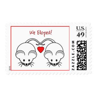 Wedding Mice White Eloped Postage Stamp