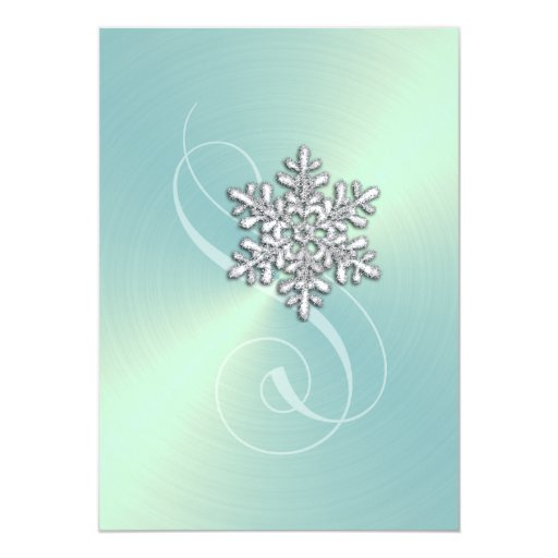 Wedding Mint Green Background Crystal Snowflake 5x7 Paper Invitation Card