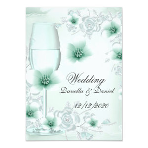 Wedding Mint Green Floral Blossoms Roses 4.5x6.25 Paper Invitation Card