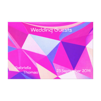 Wedding,mixed pattern,.guest signatures stretched canvas prints