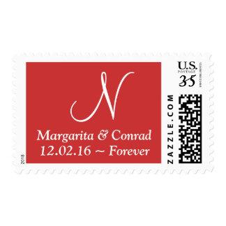 Wedding Modern Alphabet Persian Red Stamp