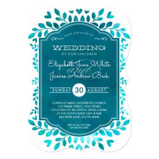 WEDDING modern botanical aqua teal blue watercolor Card