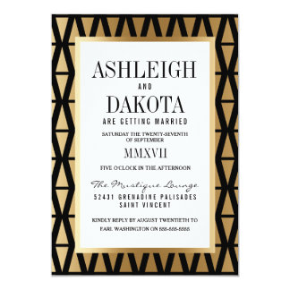 Wedding | Modern Gold & Black Geometric Card
