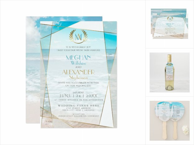 WEDDING | Modern Monogram Geometric Beach
