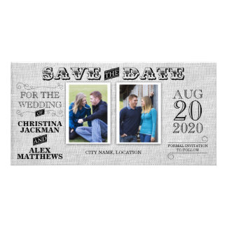 Wedding Modern Vintage Save The Date 2 Photo Card