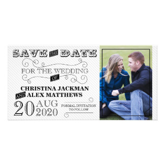 Wedding Modern Vintage Save The Date Photo Card