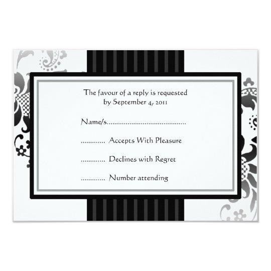 Wedding Monochrome Black & White band RSVP -small Card