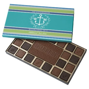 Beach Themed Wedding Monogram Anchor Laurel Wreath Aqua Stripes 45 Piece Box Of Chocolates