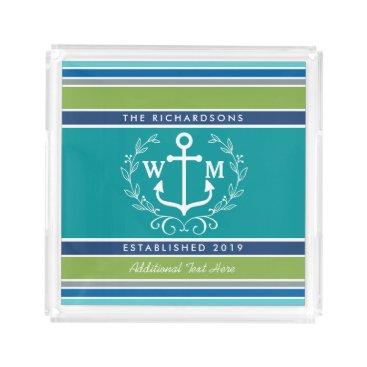 Beach Themed Wedding Monogram Anchor Laurel Wreath Aqua Stripes Acrylic Tray