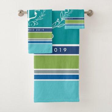 Beach Themed Wedding Monogram Anchor Laurel Wreath Aqua Stripes Bath Towel Set