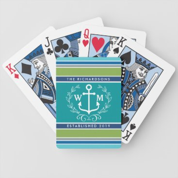 Beach Themed Wedding Monogram Anchor Laurel Wreath Aqua Stripes Bicycle Playing Cards