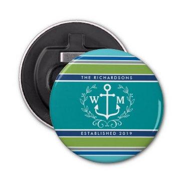 Beach Themed Wedding Monogram Anchor Laurel Wreath Aqua Stripes Bottle Opener
